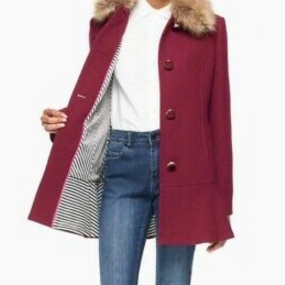 Kate Spade wine fur trim pea coat